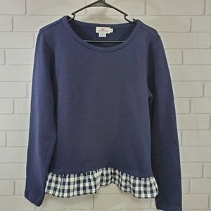 Vineyard Vines Gingham Blue Ruffled Sweatshirt